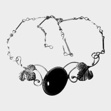Rare Gdansk, Poland, Genuine Black Amber and Silver Necklace