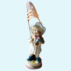 German Bisque Girl with 1836 American Flag