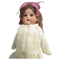 """Antique German Bisque Head 13"""" Girl Child Doll"""