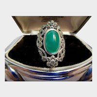 Magnificent Chrysoprase and Marcasite Sterling Silver Ring