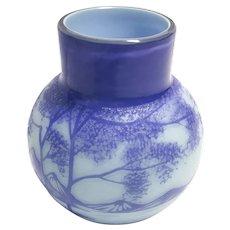 Superb Kralik 1920's Cameo Glass Vase in Lavender and Baby Blue