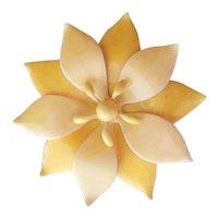 Vintage Unmarked Yellow Enamel Flower Brooch