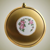 Vintage Purse Mirror With Enamel Top