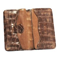 Vintage Two Compartment Brown Alligator Wallet