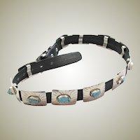 Vintage Rectangular Sterling & Turquoise Concho Belt