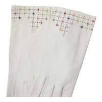 Vintage White Fancy Stitched Kid Leather Gloves