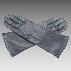 Vintage Navy Leather Gloves