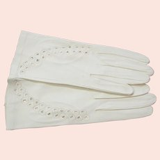 Vintage Cut Out Kid Leather Gloves