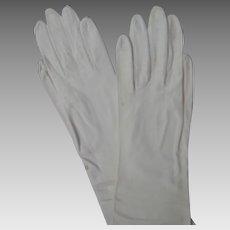 White Longer Leather Gloves