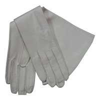 Vintage Longer White Kid Leather Gloves