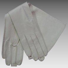 Vintage Longer White Kid Leather Gloves