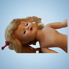 Vintage Hard Plastic Human Hair Doll