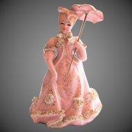 Fantastic Vintage Lefton Fancy Lady With Umbrella