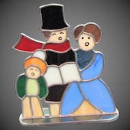 Vintage Stained Glass Christmas Carolers