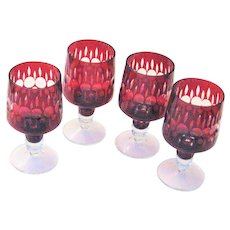 Four Vintage Ruby Cut To Clear Stems
