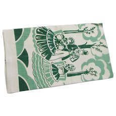 Vintage Silk Screened Linen Kitchen Southern Themed Towel
