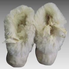 1940's Childs's Leather & Rabbit Fur Shoes