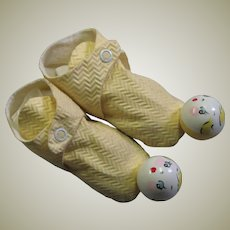 Vintage Cloth Slippers With Rattle