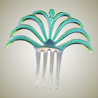 Green Rhinestone Spanish Art Deco Comb