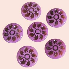 Six Pink 1950's Lucite or Plastic Buttons