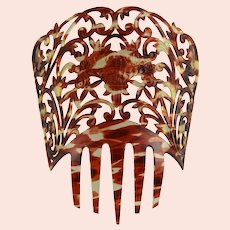 Spectacular Victorian Cut Out Tortoise Like Mantilla Comb