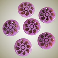 Vintage Pink Lucite Rhinestone Buttons