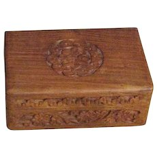 Vintage Chinese Carved Wooden Trinket Box