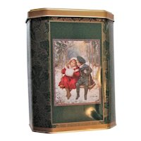 Christmas Skaters Lithographed Biscuit Tin