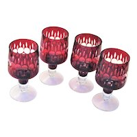 Four Red Cut to Clear Stem Glasses
