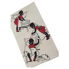 Vintage Never Used Black Memorabilia Silk Screened Linen Kitchen Towel - Red Tag Sale Item