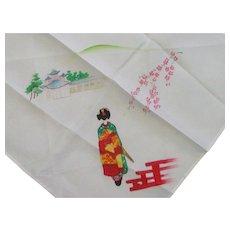 Mid Century Souvenir Silk Hand Painted Handkerchief