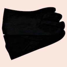 Black Short Rayon 1950's Gloves That Stretch