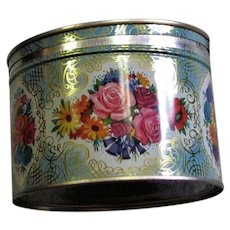 Lithographed Flower Tin With Contents