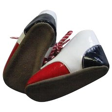 Adorable Vintage Children's Red White & Blue Patent High Top Shoes