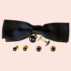 Black Bow Tie, Cuff-links & Studs Formal Wear