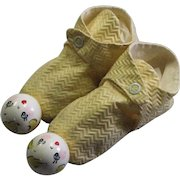 Fun Pair Toddler Booties With Clown Face Rattle In Yellow