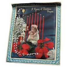 Huge Christmas Card W/ Catholic Rosary Attached
