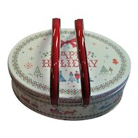 Mid Century Litho Christmas Lunch Pail
