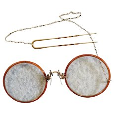 Tortoise Colored Pince-Nez & Gold Pick Glasses