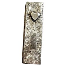 Sterling Repousse Lipstick Holder With Heart