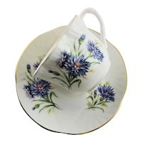 Blue Bachelor Button Scalloped Top Staffordshire Cup & Saucer
