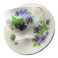 Blue Violet Bone China English Cup & Saucer