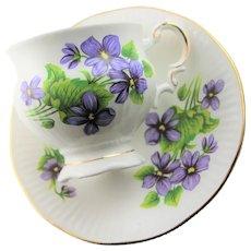 Blue Violet Bone China English Cup & Saucer