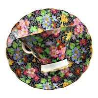 Black Chintz Bone China Cup & Saucer