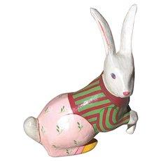 Handmade Painted Paper Mache Rabbit