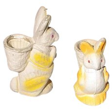 Two 1940's Paper Mache Pulp Bunnies