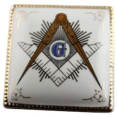 Vintage Masonic Porcelain Trinket Box