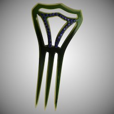 Amazing Green & Blue Vintage Hair Comb