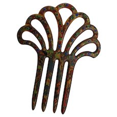 Beautiful Vintage Multi Colored Hair Comb