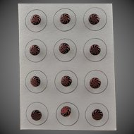 Vintage Small Black & Red Glass Buttons